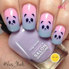Animal Nail Designs, Girls Nail Designs, Nail Art Designs Videos, Simple Nail Art Designs, Animal Nail Art, Diy Nail Designs Step By Step, Unicorn Nail Art, Unicorn Nails Designs, Panda Nail Art