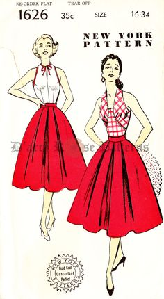 New York 1626 Vintage 1950s Halter Top and Skirt Sewing Pattern Sz 16 by DRCRosePatterns on Etsy