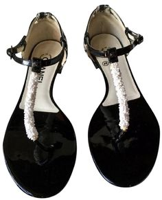5e54129a82b618 Black Orig Box Tweed   Beaded T-strap W Cc Logo Leather Ankle Strap (37  1 2) Sandals