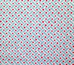 Alan Campbell Fabric: Kells II - Custom Magenta / Sky on White