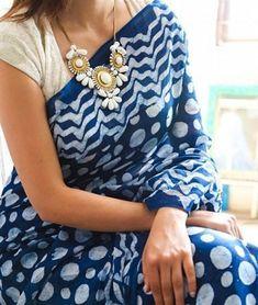 Blue and white cotton saree