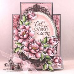 Our Daily Bread Designs Stamp/Die Duos: Hello Friend, Paper Collection: Romantic Roses, Custom Dies: Center Step Card, Center Step Layers Oval Stitched Rows, Ornate Ovals Tri Fold Cards, Folded Cards, Center Step Cards, Card Making Designs, Our Daily Bread, Romantic Roses, Get Well Cards, Homemade Cards, Flowers