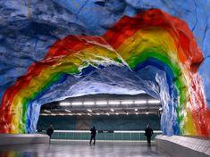 Stadion Subway Station, Stockholm, Sweden via Conde Nast Traveler #art #subway