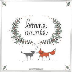 bonne-annee-1-petits-beguins Christmas Images, Christmas And New Year, Xmas, Merry Christmas, New Eve, Happy New Year Message, Doodles, Stamp Carving, Happy New Year 2019