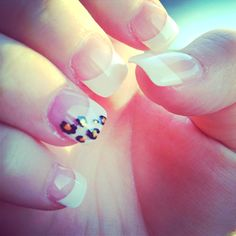 french manicure with cheetah accent. so cute! Colorful Nail Designs, Cute Nail Designs, Sassy Nails, Cute Nails, Hair And Nails, My Nails, Champagne Nails, Solar Nails, Cheetah Nails