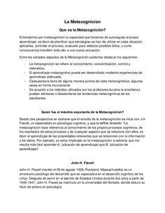 La Metacognicion Que es la Metacognición? Entendemos por metacognición la capacidad que tenemos de autoregular el propio a...