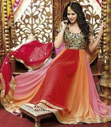 Buy Pink And Red georgette embroidered semi stitched salwar with dupatta anarkali-salwar-kameez online