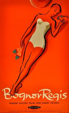 Bognor Regis British Railways, - original vintage poster by Percy Drake Brookshaw listed Posters Uk, Railway Posters, Poster Ads, Advertising Poster, Cool Posters, Poster Prints, Beach Posters, Vintage Advertisements, Vintage Ads