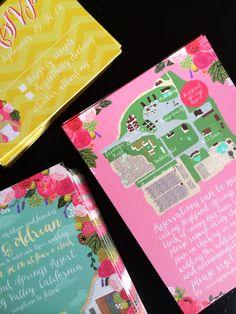Custom Illustrated Wedding Invitations with a Custom Map