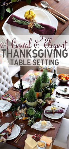 A casual yet elegant Thanksgiving table setting via Jen Woodhouse