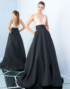 A Line Deep V Neck Black And White Satin Evening Prom Dress With Pockets Black And White Prom Dresses, Prom Dresses With Pockets, Evening Dresses, Formal Dresses, White Satin, V Neck, Deep, Party, Fashion