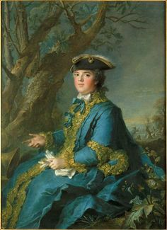 Madame Elisabeth in a riding habit by Nattier in 1760 (Madame Elisabeth or Madame Premiere de France,first daughter of Louis XV and Marie Leszczynska)