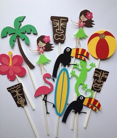 12 LUAU ASSORTMENT Cupcake Toppers by MiaSophias on Etsy, $11.99