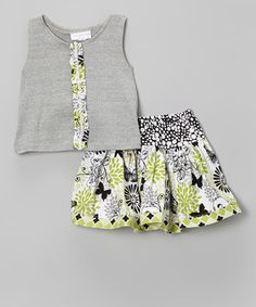 This Gray & Green Butterfly Tank & Pleated Skirt - Toddler & Girls by Carolina Kids is perfect! #zulilyfinds