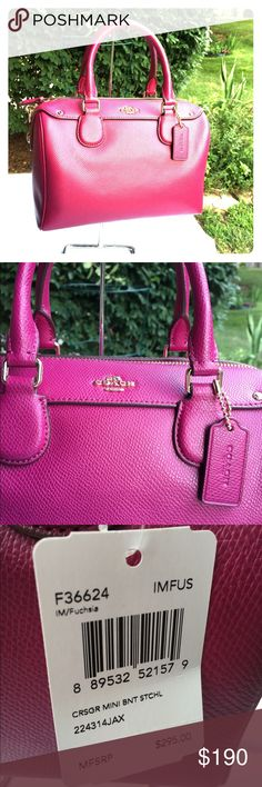 "Coach Crossgrain Mini Bennett Satchel 100% Authentic. Brand new with tags. No trade!  Style #: F36624. Color: Fuchsia. Crossgrain leather. Inside zip, cell phone and multifunction pockets. Zip-top closure, fabric lining. Handles: 4 1/2"" drop. Longer strap for shoulder/Crossbody: 23"". Approximately 9""L x 7""H x 4 1/2""W Coach Bags Satchels"