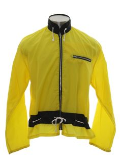 Retro 70's Jacket: 70s -Risa- Mens/Boys yellow background nylon longsleeve, zippered front racing jacket with cool black stand up collar with white rope detail, right front zippered closure chest inset pocket, black stripe with white rope drawstring waist, flat bottom hem and stretched out what used to be elastic cuffs.