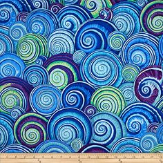 Kaffe Fassett Spiral Shells Blue Fabric By The Yard: Designed by Philip Jacobs for Free Spirit this cotton print fabric is perfect for quilting apparel and home decor accents. Colors include shades of blue shades of purple and shades of green.