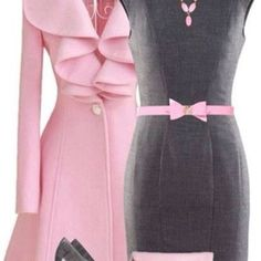 dress bag coat gray, sheath dress pink bow belt belt gray