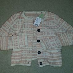 Nwt anthropologie pink and white plaid cardigan New with tags  knitted and knotted brand by anthropologie cardigan. Peach/ light pink and white 50s plaid design. 2 front pockets.  Size small.  Cotton acrylic nylon wool and alpaca Anthropologie Sweaters Cardigans