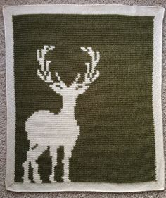 Deer Silhouette Baby Blanket Crochet Pattern and by CinqArtisans