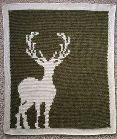 Deer Silhouette Baby Blanket Crochet Pattern and by CinqArtisans