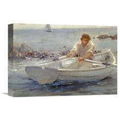 "Global Gallery 'Man in a Rowing Boat' by Henry Scott Tuke Painting Print on Wrapped Canvas Size: 15.29"" H x 22"" W x 1.5"" D"