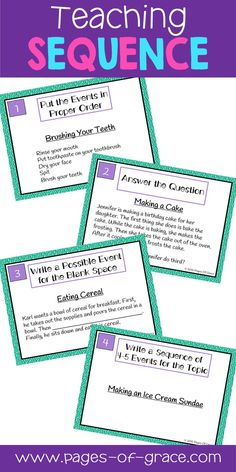 Are you looking for fun ideas and activities for teaching sequence? This activity is a great way to get kids moving & practice sequencing skills. It is a set of 36 task cards, with 4 different types of cards-putting events in order; choosing which event is first, second, third, etc; writing a possible event for a blank spot in a given paragraph; and writing a series of events for a given topic. Great for 4th grade, 5th grade, & 6th grade literacy centers and games in the classroom…