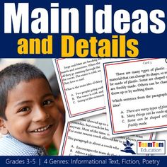 Task Cards to help students practice using details to find the main idea. Grades…