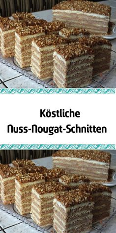 Scrumptious nut and nougat slices - kuchen - Coffee Recipes Crumb Coffee Cakes, Pumpkin Coffee Cakes, Dark Chocolate Mousse, Chocolate Peanut Butter, Chocolate Covered Pretzels, Chocolate Covered Strawberries, Christmas Desserts, Fun Desserts, Ultimate Chocolate Cake