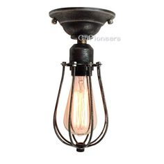 Vintage Industrial Black Cage Ceiling Lamp stair light  Ask a Question