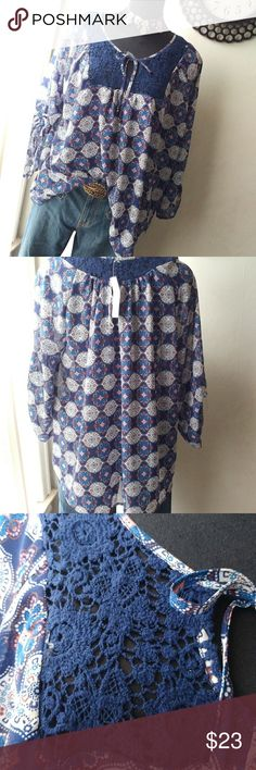 Nwt Truly 4 You Geometric Print Boho Top Perfect condition. Airy material, great vibrant print. Convertible ruched 3/4 sleeve. Adorable crochet detail on the front and back yoke. Lovely drape. Keyhole drawstring closure on neckline; 27 inches pit to pit, 30 inches in length; Semi-sheer; Stay on trend with this cutie; If you have any questions, please feel free to ask Truly 4 You Tops Blouses