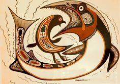 Bird and Fish by Jackson Beardy - Inuit & Native Art of Canada Original - Red Kettle Art And Collectibles Inuit Kunst, Inuit Art, Native American Artists, Canadian Artists, Claudia Tremblay, Kunst Der Aborigines, Native Canadian, Haida Art, Art Original