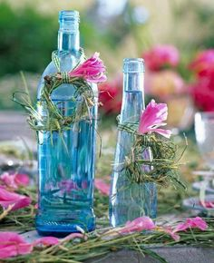 Fresh flowers and water bottles!