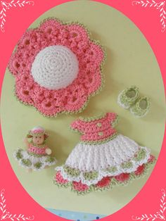 "Crochet Doll Clothes Spring Baby Doll Outfit for 4 ½"" Kelly Same Sized Dolls"