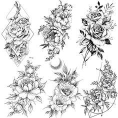 COKTAK 6 Pieces/Lot Realistic Large Black Rose Flower Temporary Tattoos For Women Body Art Arm Big Peony Geometric Tattoo Stickers Adults Fake Waterproof Tatoo Legs Sketch Sexy Girl Peach Lily Floral Back Tattoos, Floral Tattoo Design, Flower Tattoo Designs, Floral Arm Tattoo, Tattoos Bein, Body Art Tattoos, Sleeve Tattoos, Fake Tattoos, Wing Tattoos