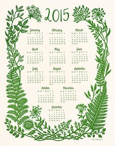2015 Wall Calendar Botanical Papercut by SarahTrumbauer on Etsy