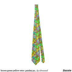 brown green yellow retro  paisley pattern neck tie