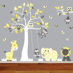 Jungle wall decal tree giraffeelephantmonkey by wallartdesign, Monkey Nursery, Jungle Nursery, Jungle Theme, Nursery Wall Decals, Wall Decal Sticker, Baby Beaver, Baby Room Colors, Bible Crafts For Kids, Church Nursery