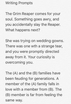 Some writing prompts by me, I hope some people give them a try