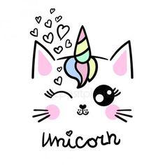 Unicorn Drawing, Cute Cat Drawing, Cute Little Drawings, Unicorn Cat, Cute Kawaii Drawings, Cute Unicorn, Drawing For Kids, Easy Drawings, Drawing Art