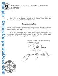 Rhode Island Certificate Of Good Standing