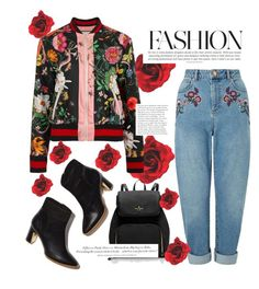 """jacket floral"" by feerubal ❤ liked on Polyvore featuring Gucci, Miss Selfridge, H&M and floral"