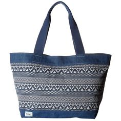 TOMS Tribal Geo Canvas Tote (Navy) Tote Handbags ($46) ❤ liked on Polyvore featuring bags, handbags, tote bags, navy tote bag, white purse, tote purses, canvas totes and navy canvas tote bag