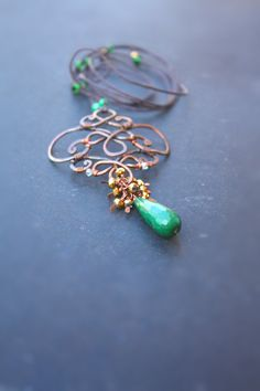Shabby Chic Green Gold Wire Pendant by SusyDeMarchiJewelry on Etsy