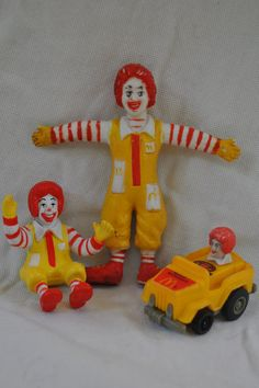 Vintage Clown RONALD MCDONALD 1980s Happy Meal Toy Lot of 3 Stocking Stuffers. $6.50, via Etsy.