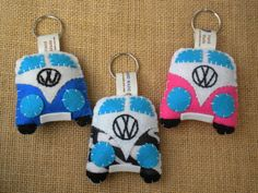 Volswagen van felt key chain hand made that you can personalize on the plate.