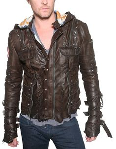 "Men's JUNKER Designs - ""CHAINSAW"" Leather Jacket in Brown"