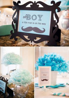 Aqua Little Man Mustache Baby Shower