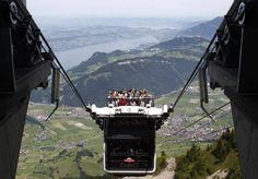 This open-air cable car ride offers stunning views of Swiss Alps, but those afraid of heights would do better to stay behind the glass at the lower deck.See more Picture Posts — Follow NP Pho…