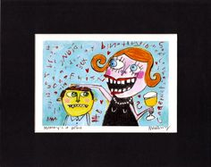 Mommy's A Wino outsider art quirky funny wine lover  giclee art print by MurphyAdamsStudio,  $20.00